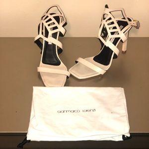 Cream color strappy stilettos